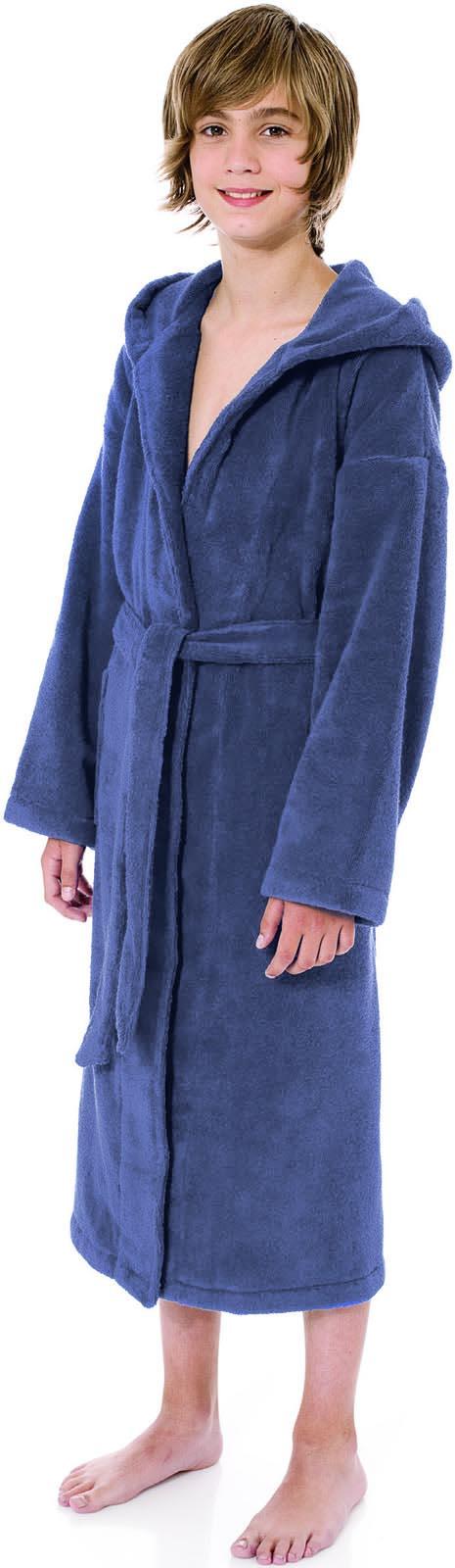 Kobaltblauwe kinderbadjas met capuchon van Egeria-0