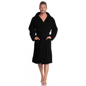 Lichtgewicht badjas, zwart met capuchon van Vossen-0