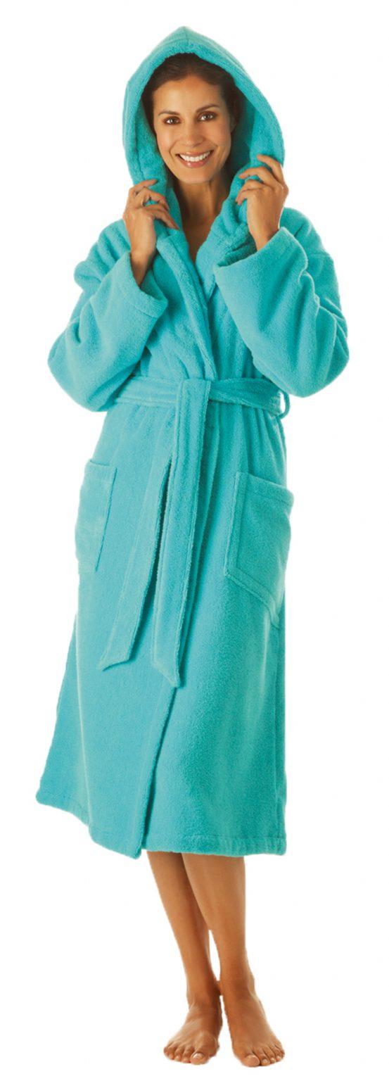 Luxe turquoise damesbadjas van lichtgewicht badstof van Egeria-863
