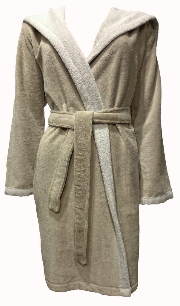 Korte beige damesbadjas met capuchon voor de sauna van Morgenstern-881