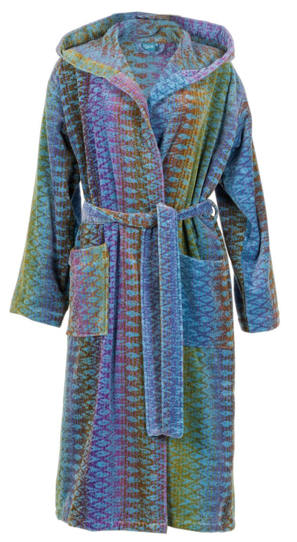 Designbadjas in blauw ikatmotief met capuchon van Elaiva-0