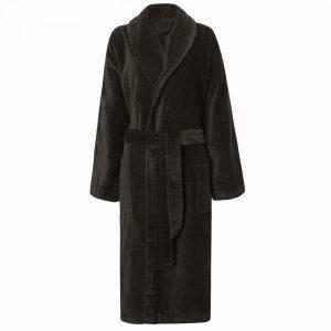 Zwartgrijze veloursbadstof badjas met sjaalkraag van Vandyck-0