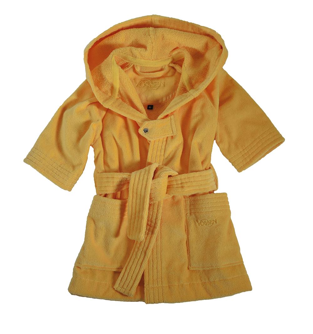 Geel babybadjasje met capuchon van veloursbadstof-0