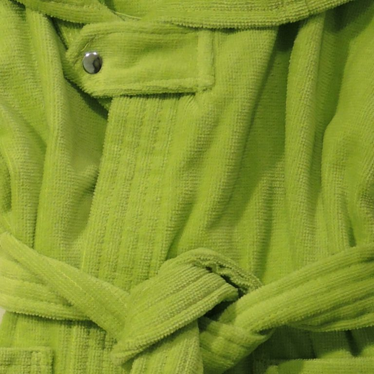 Limegroen babybadjasje met capuchon van veloursbadstof-1122