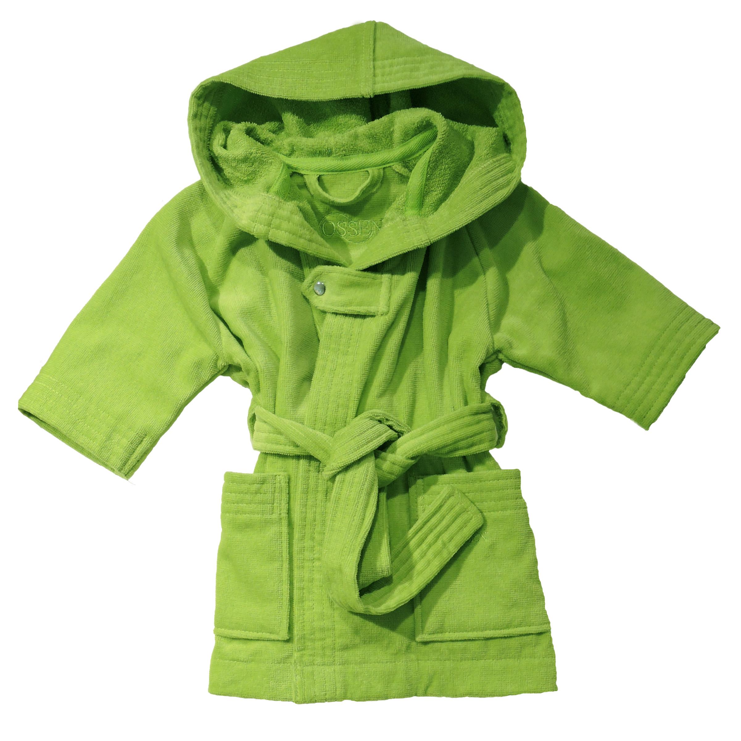 Limegroen babybadjasje met capuchon van veloursbadstof-0