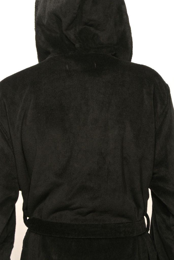 Zwarte uniseks badjas met capuchon van de badjassenwinkel-908