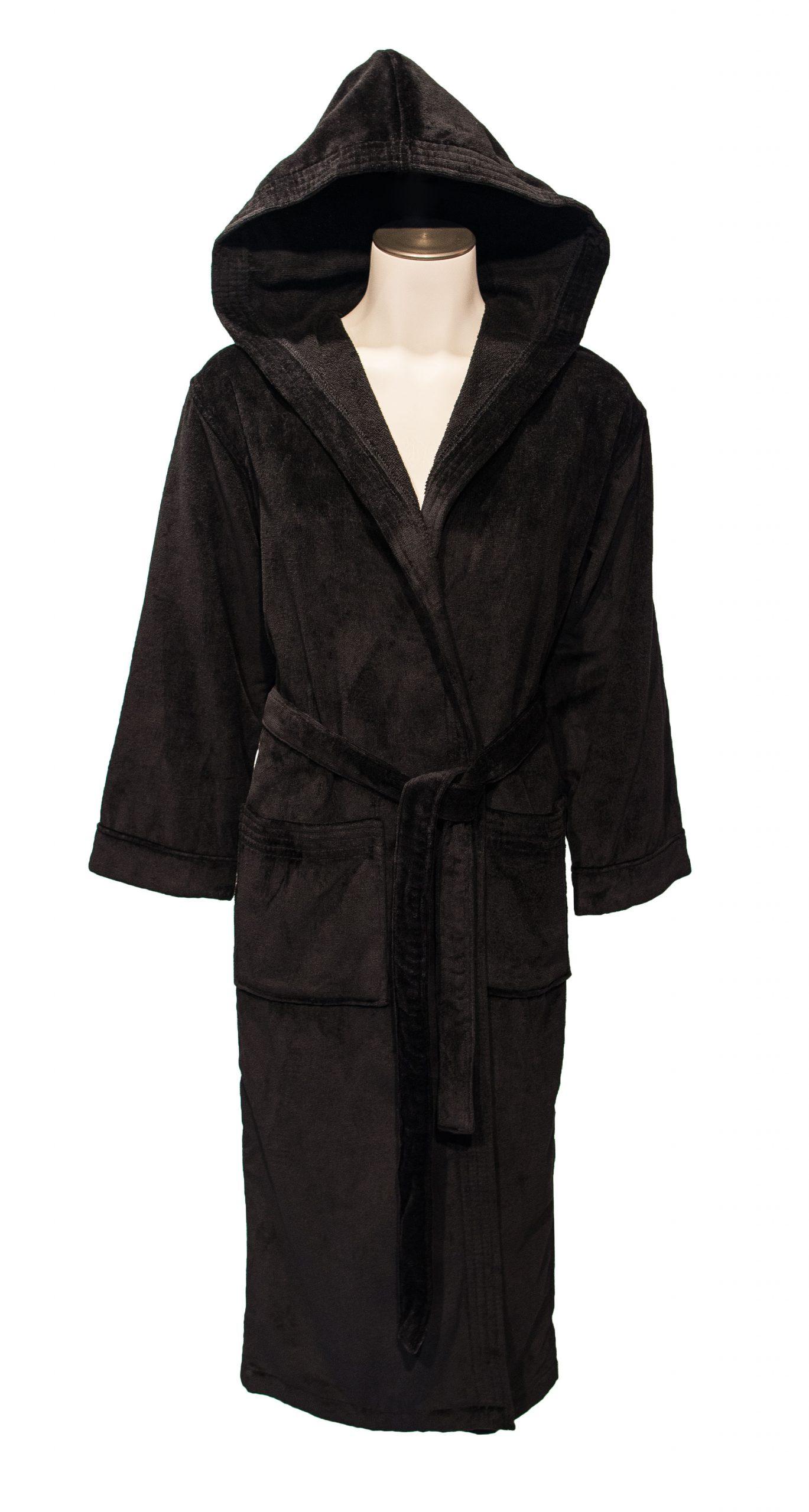 Zwarte uniseks badjas met capuchon van de badjassenwinkel-0