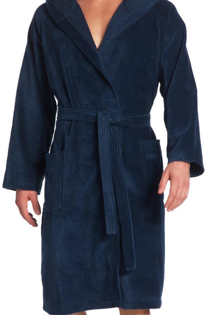 Donkerblauwe saunabadjas met capuchon van Vossen-1457