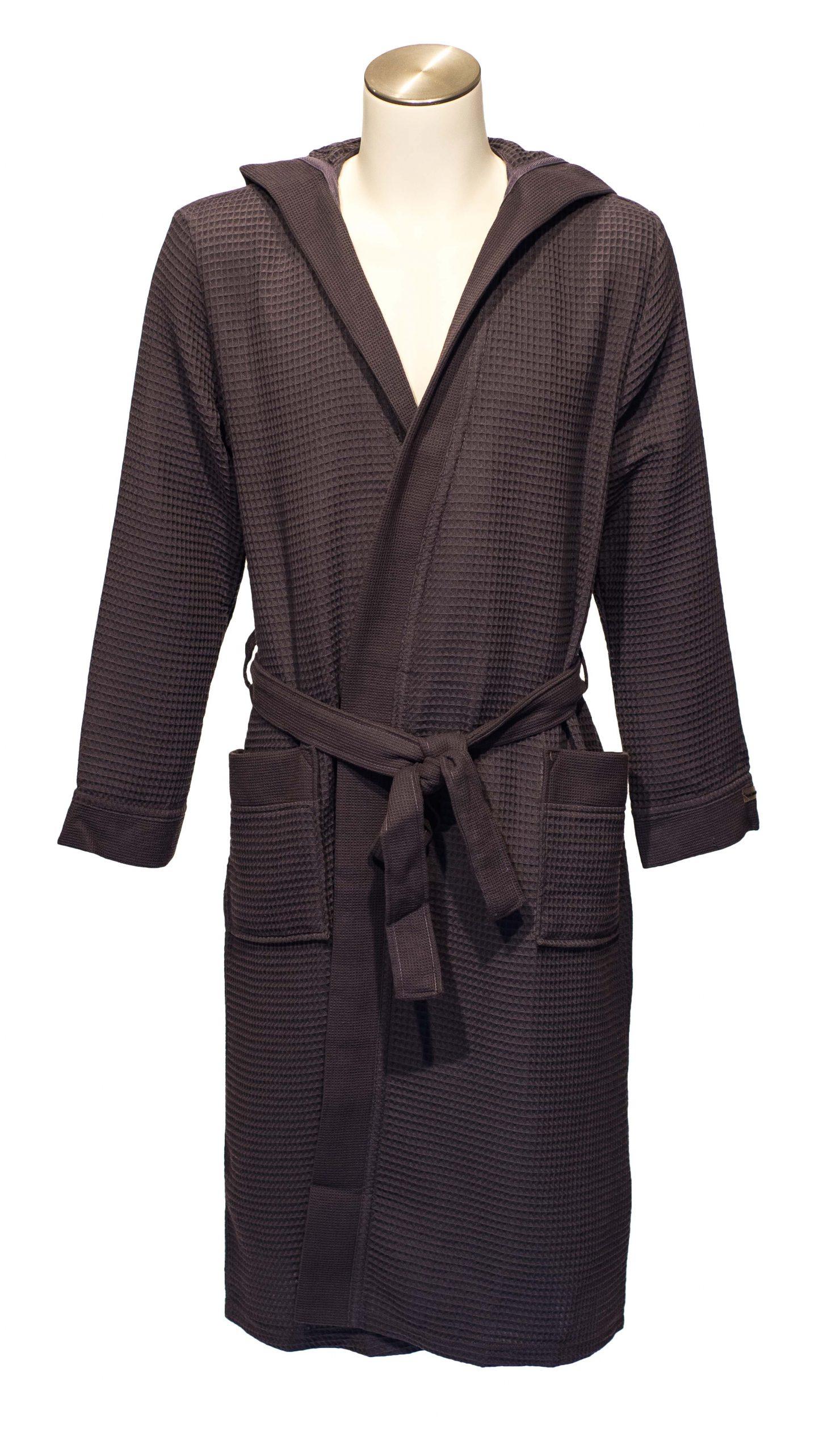 Luxe dunne saunabadjas met capuchon van donkergrijze wafelkatoen van Taubert-0