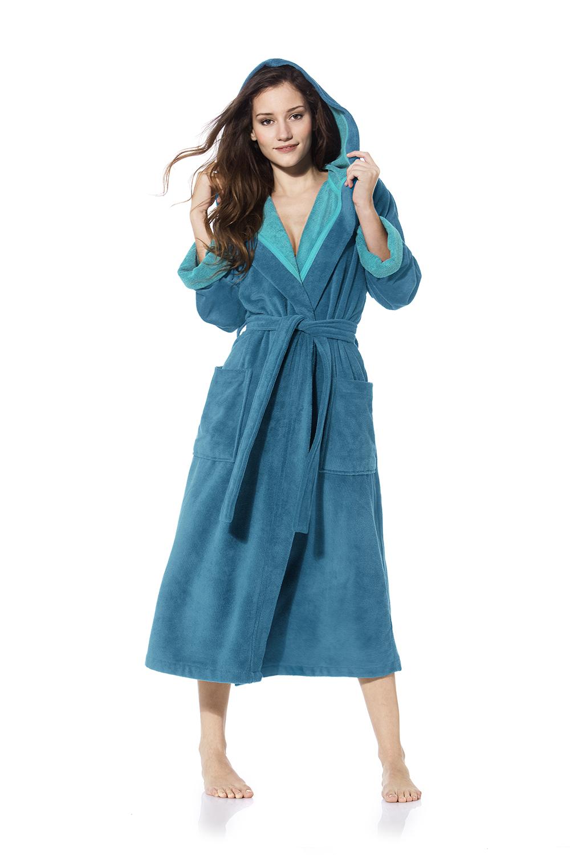Aqua damesbadjas met capuchon van zachte veloursbadstof van Morgenstern-0