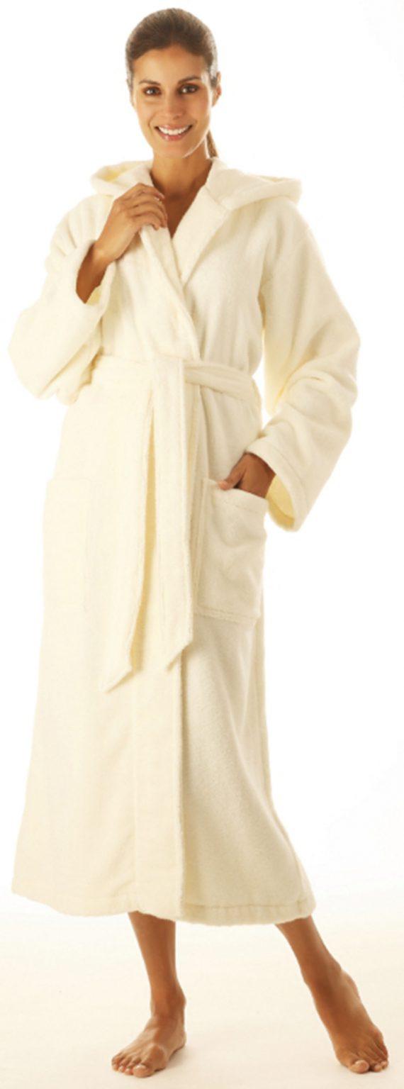 Crème badjas met capuchon van lichtgewicht badstof van Egeria-933