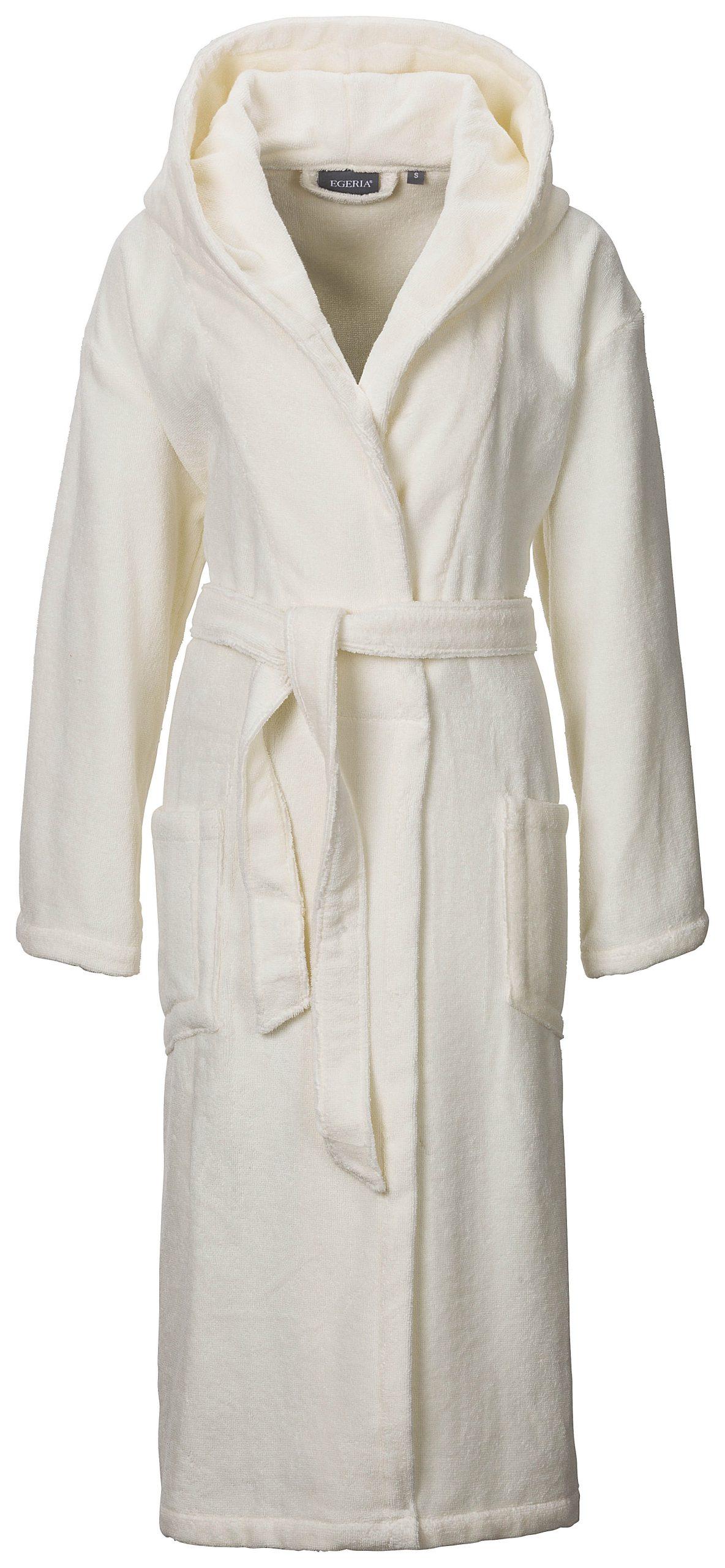 Crème badjas met capuchon van lichtgewicht badstof van Egeria-0