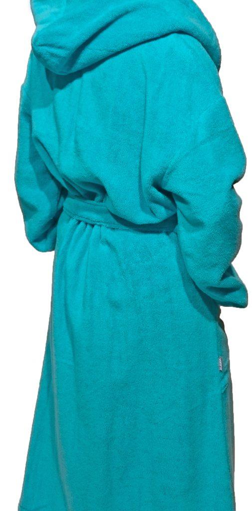 Luxe turquoise damesbadjas van lichtgewicht badstof van Egeria-935