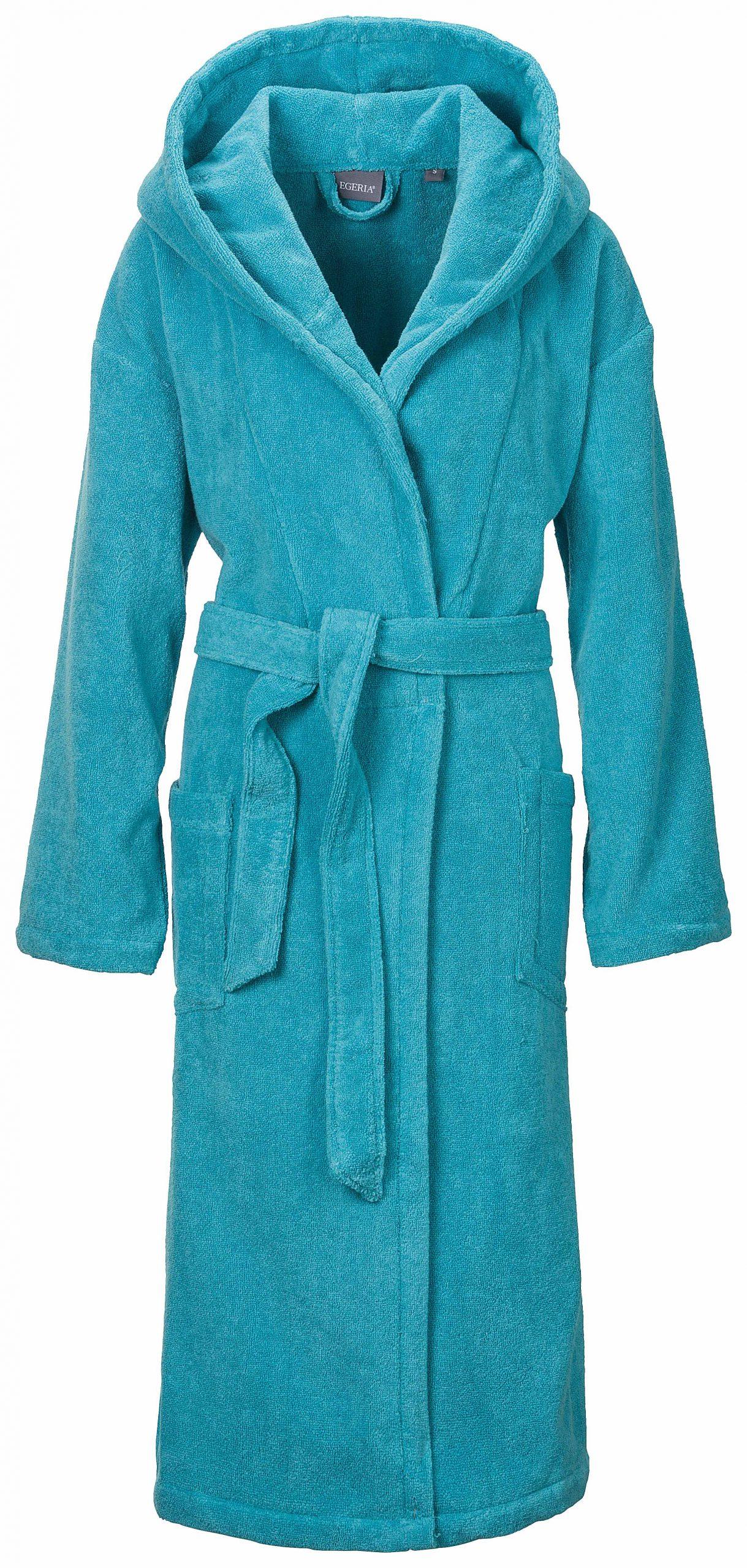 Luxe turquoise damesbadjas van lichtgewicht badstof van Egeria-0