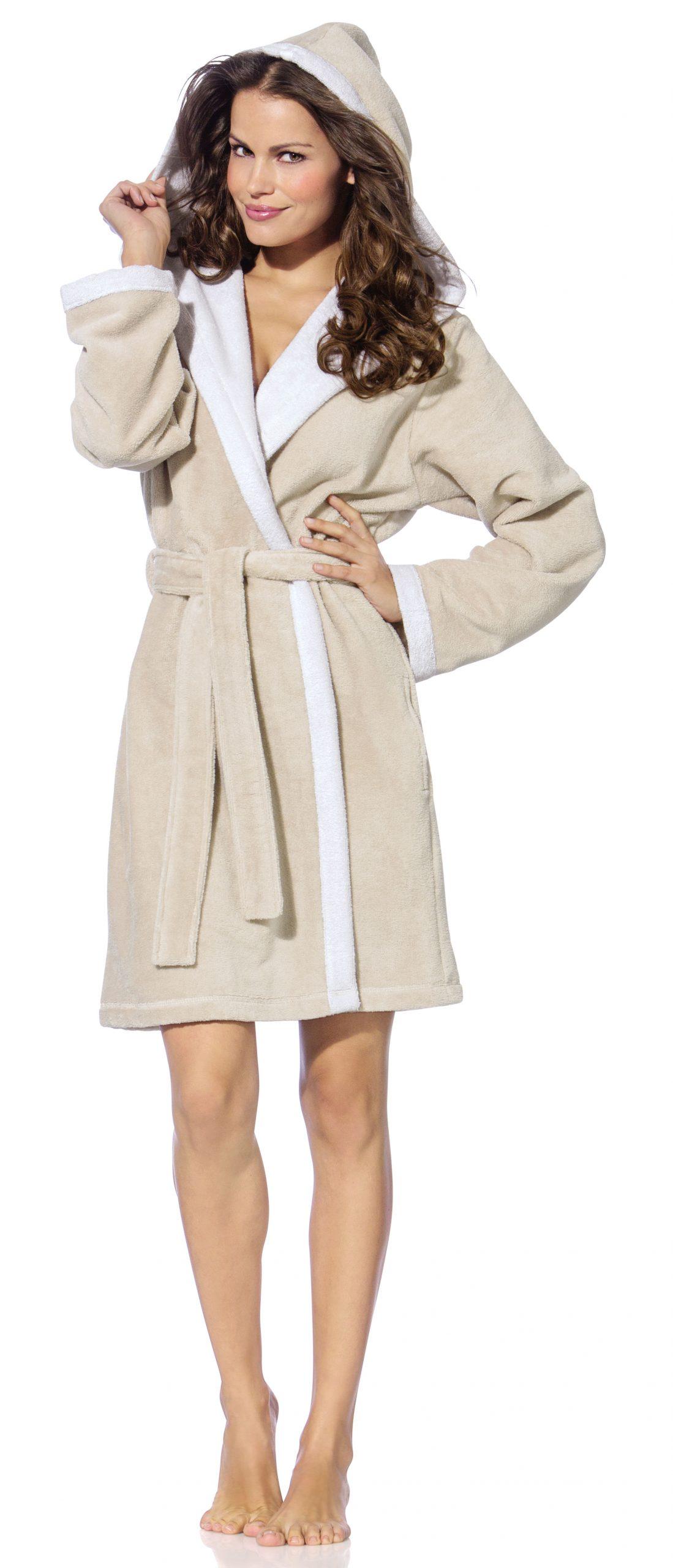 Korte beige damesbadjas met capuchon voor de sauna van Morgenstern-0