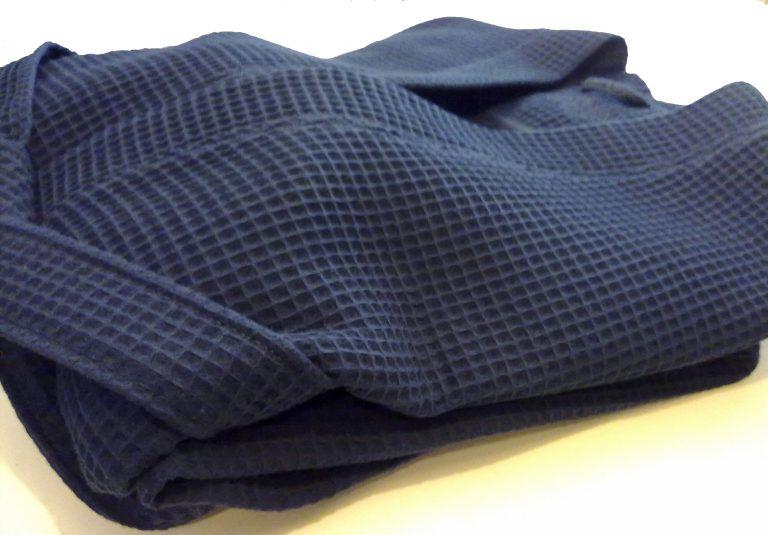 Donkerblauwe badjas van wafelkatoen van Vossen-1442