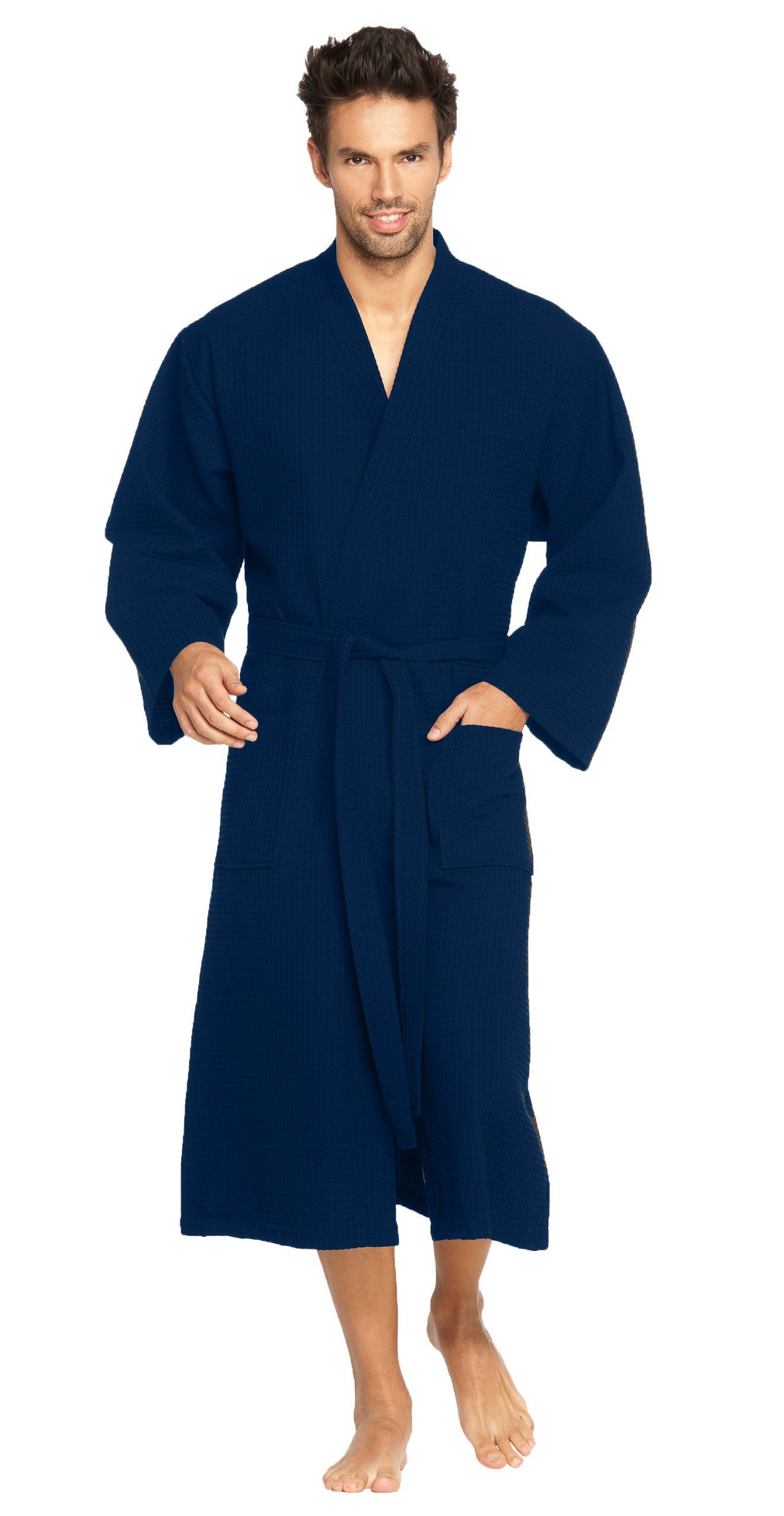 Donkerblauwe badjas van wafelkatoen van Vossen-0