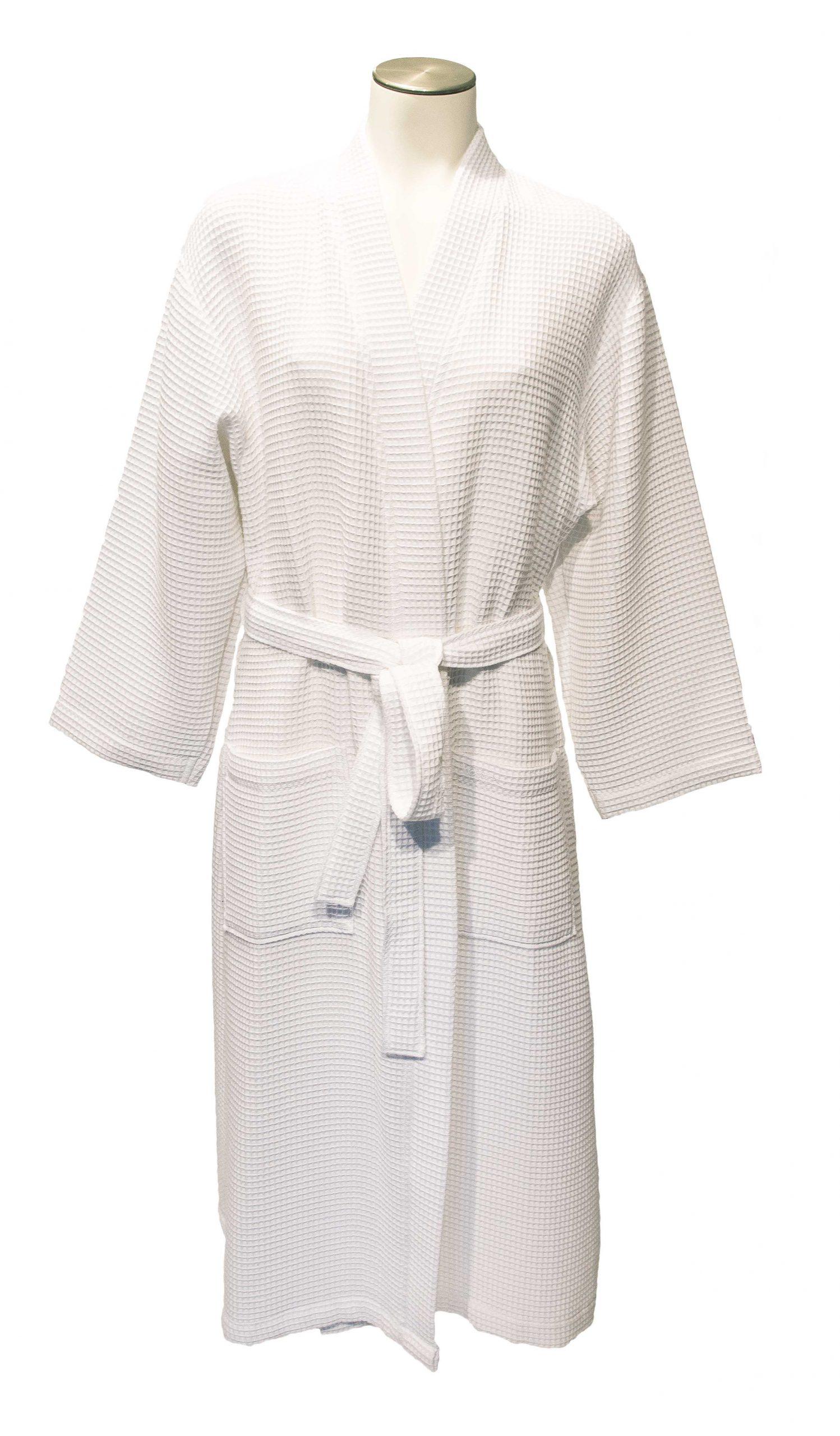 Dunne witte kimono van wafelkatoen van Vossen-0