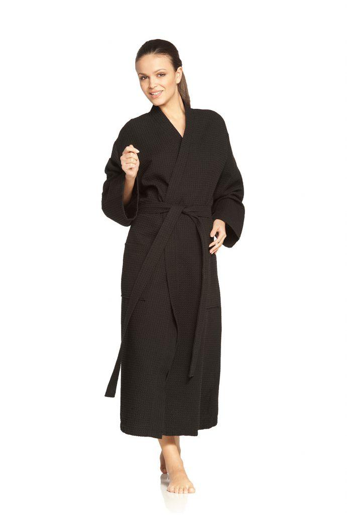 Zwarte wafelbadjas in kimonomodel van Vossen-957