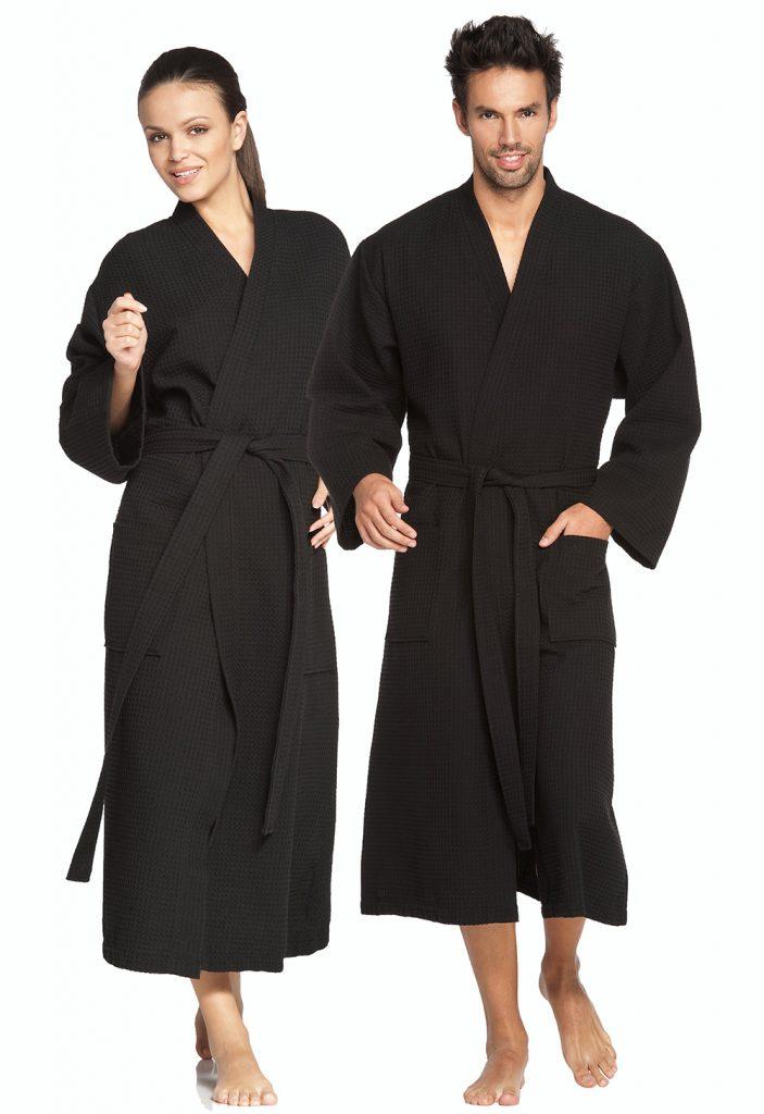 Zwarte wafelbadjas in kimonomodel van Vossen-958