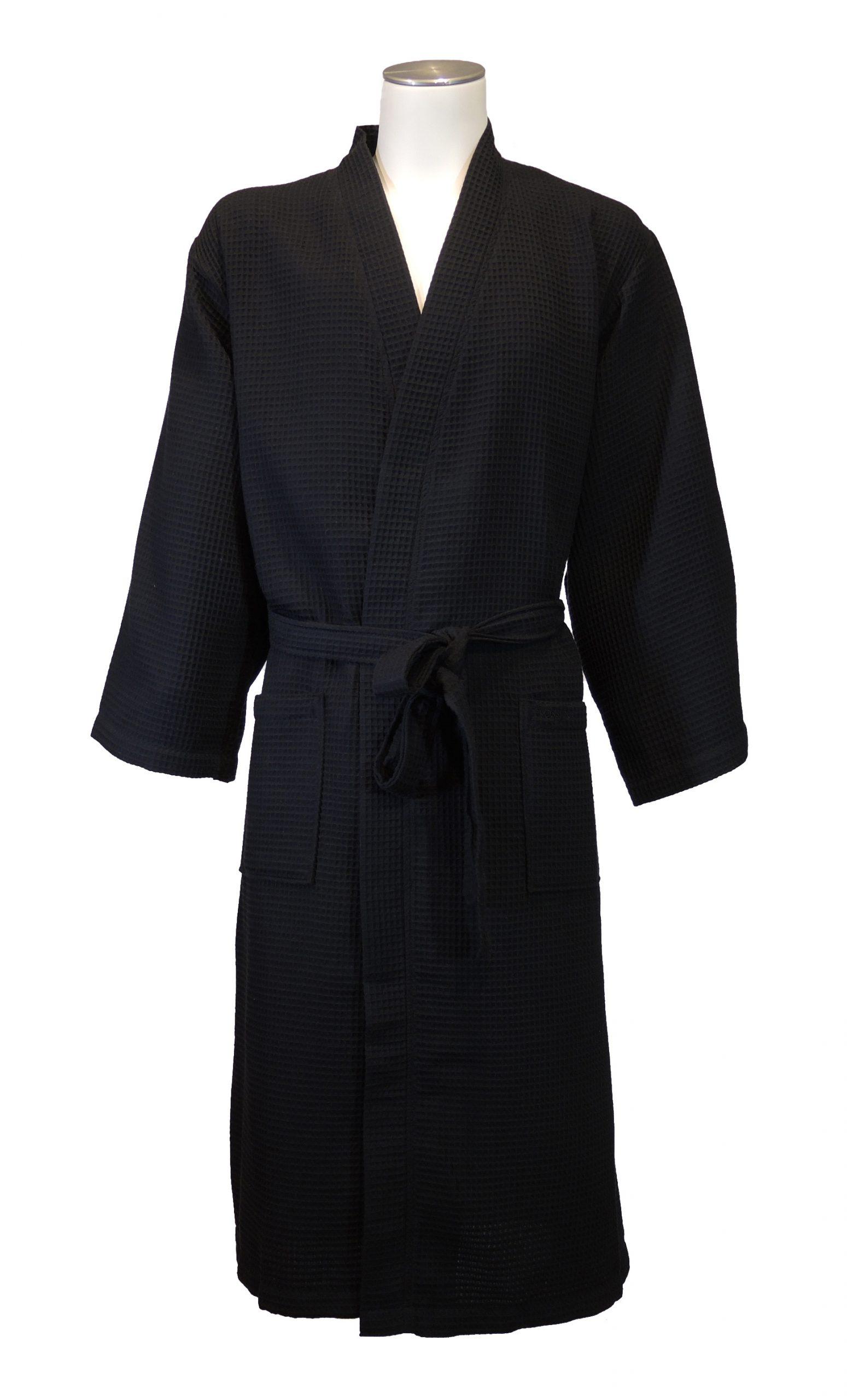 Zwarte wafelbadjas in kimonomodel van Vossen-0