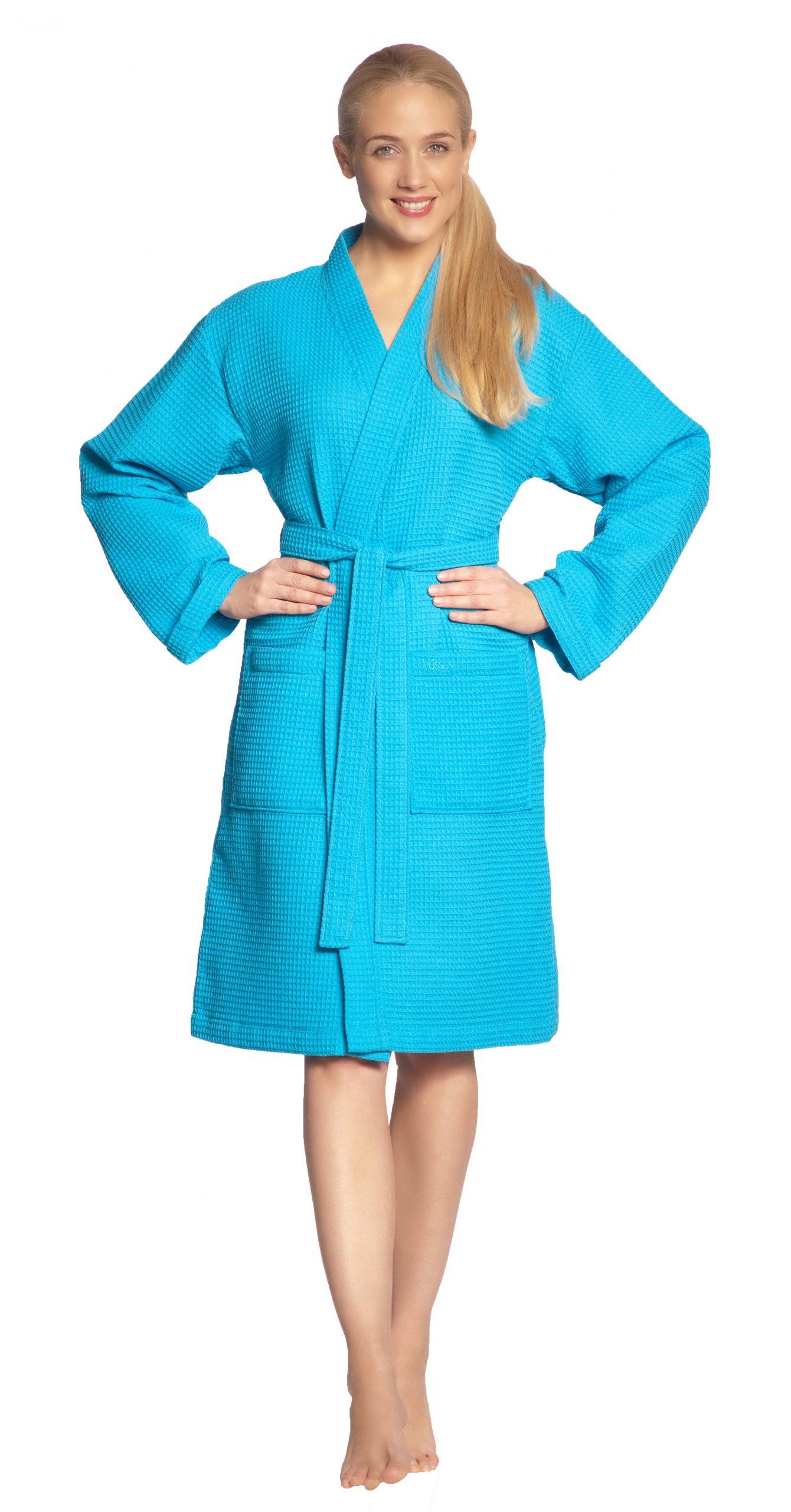 Turquoise wafelkimono kort damesmodel van Vossen-0