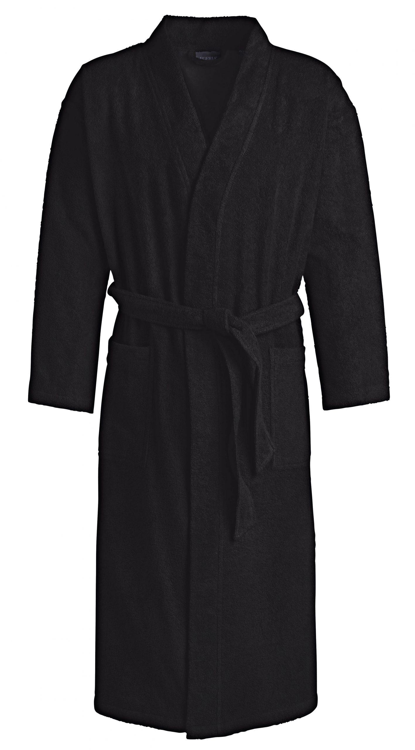 Zwarte badstof badjas in kimonomodel van Egeria-0