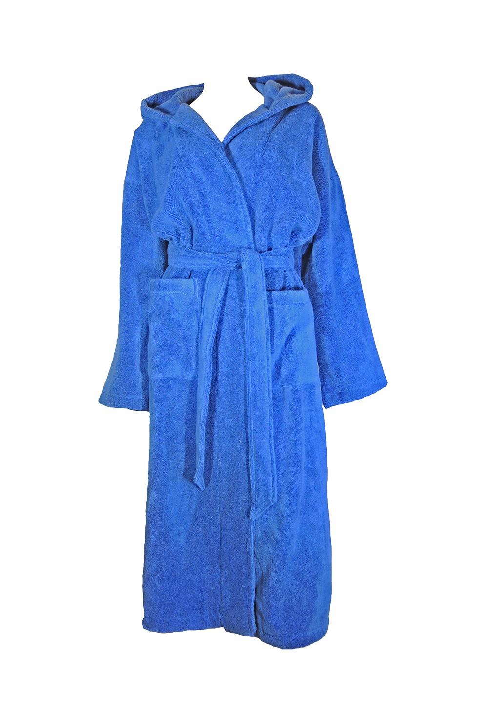 Kobaltblauwe badjas van zachte badstof voor tieners en dames van Egeria-0