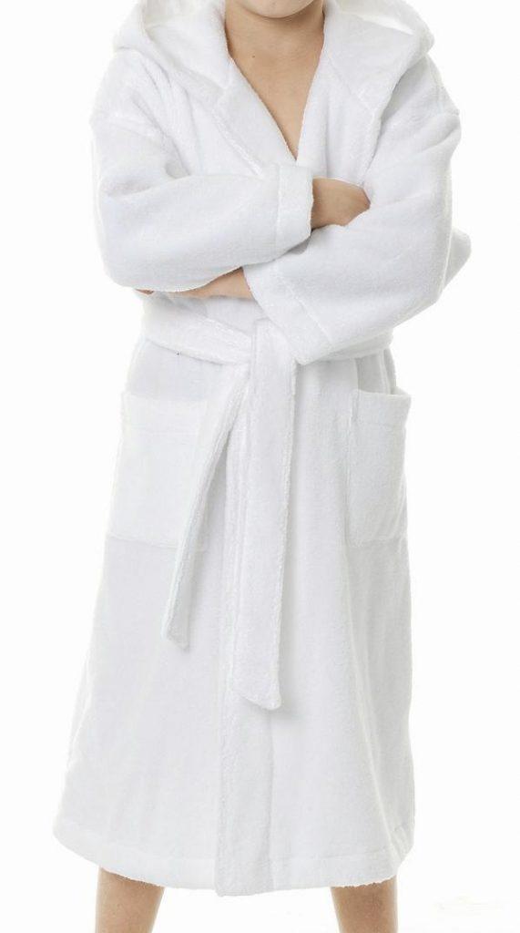 Witte Egeria badjas van zachte katoen voor tieners en dames-1107