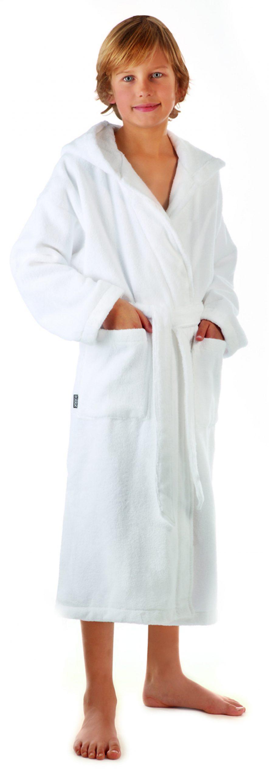 Witte kinderbadjas met capuchon van zachte katoen van Egeria-0