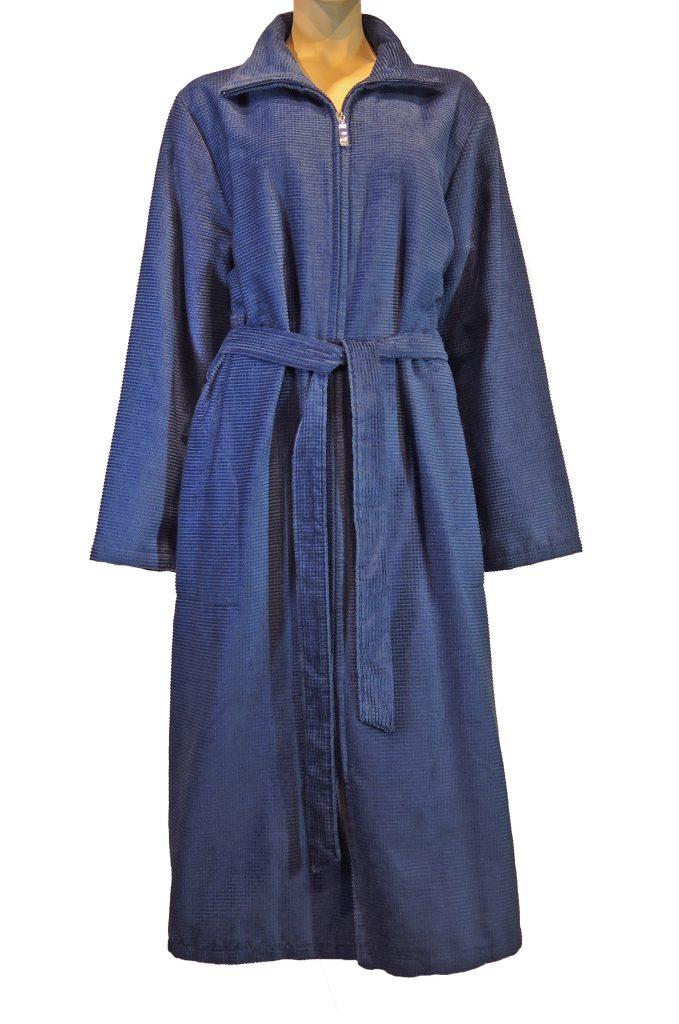 Blauwe damesbadjas met rits van Cawö-1091