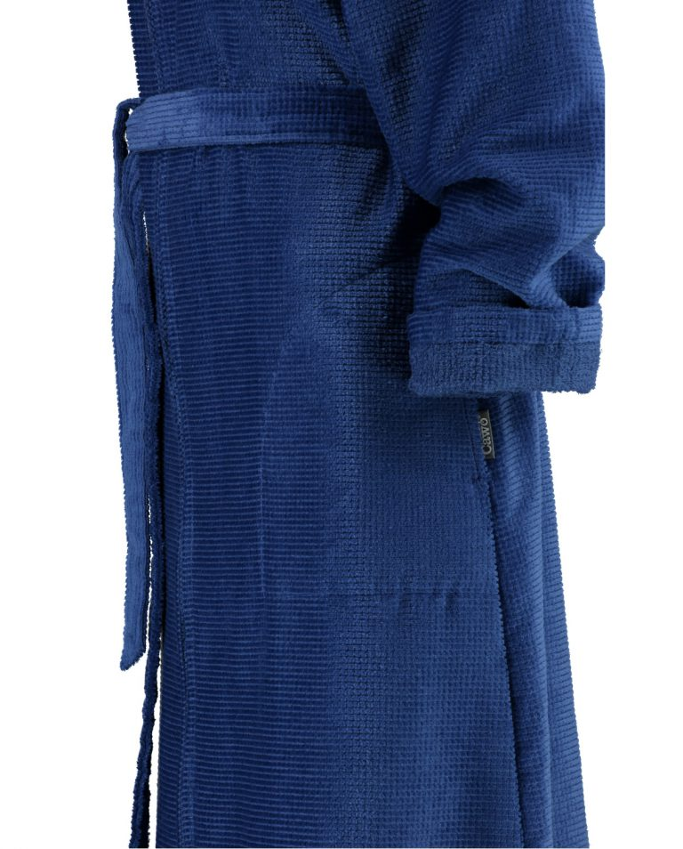 Blauwe damesbadjas met rits van Cawö-1450