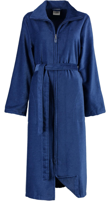 Blauwe damesbadjas met rits van Cawö-0