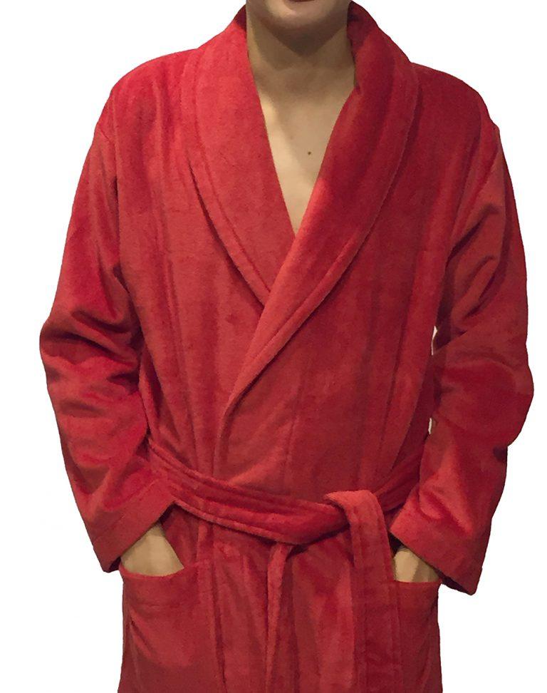 Rode velours badstof badjas met kraag van Vandyck-1013