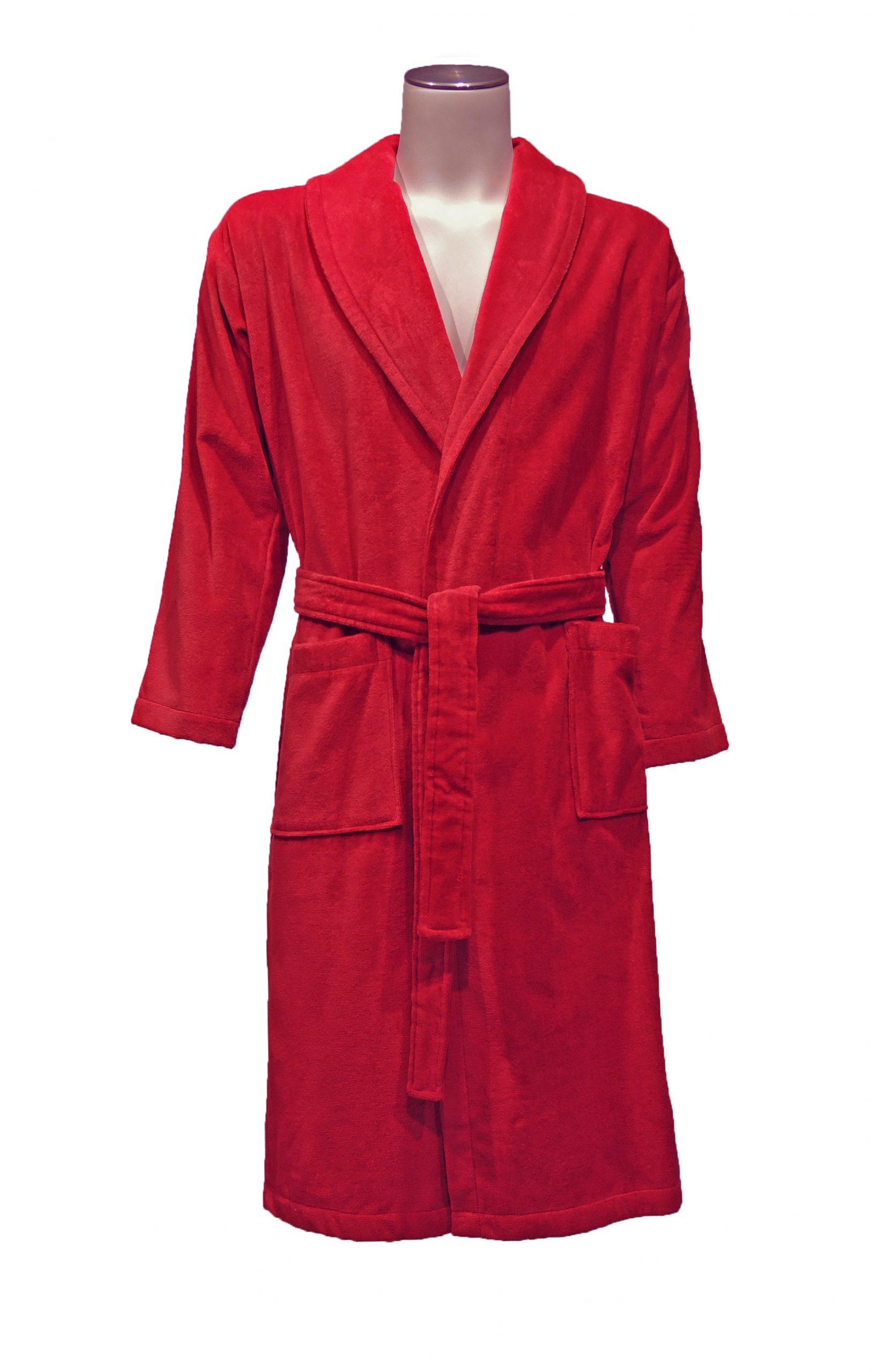 Rode velours badstof badjas met kraag van Vandyck-0