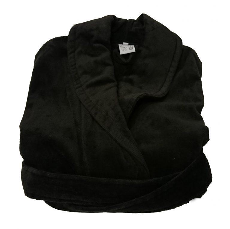 Zwartgrijze veloursbadstof badjas met sjaalkraag van Vandyck-1020