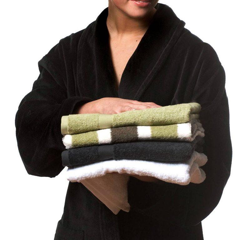 Zwartgrijze veloursbadstof badjas met sjaalkraag van Vandyck-1021
