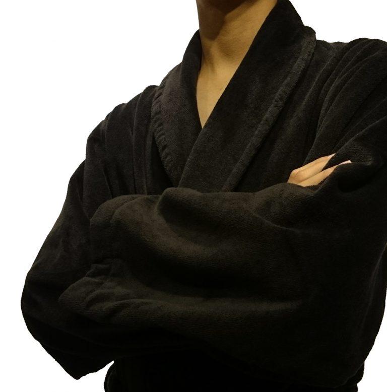 Zwartgrijze veloursbadstof badjas met sjaalkraag van Vandyck-1019
