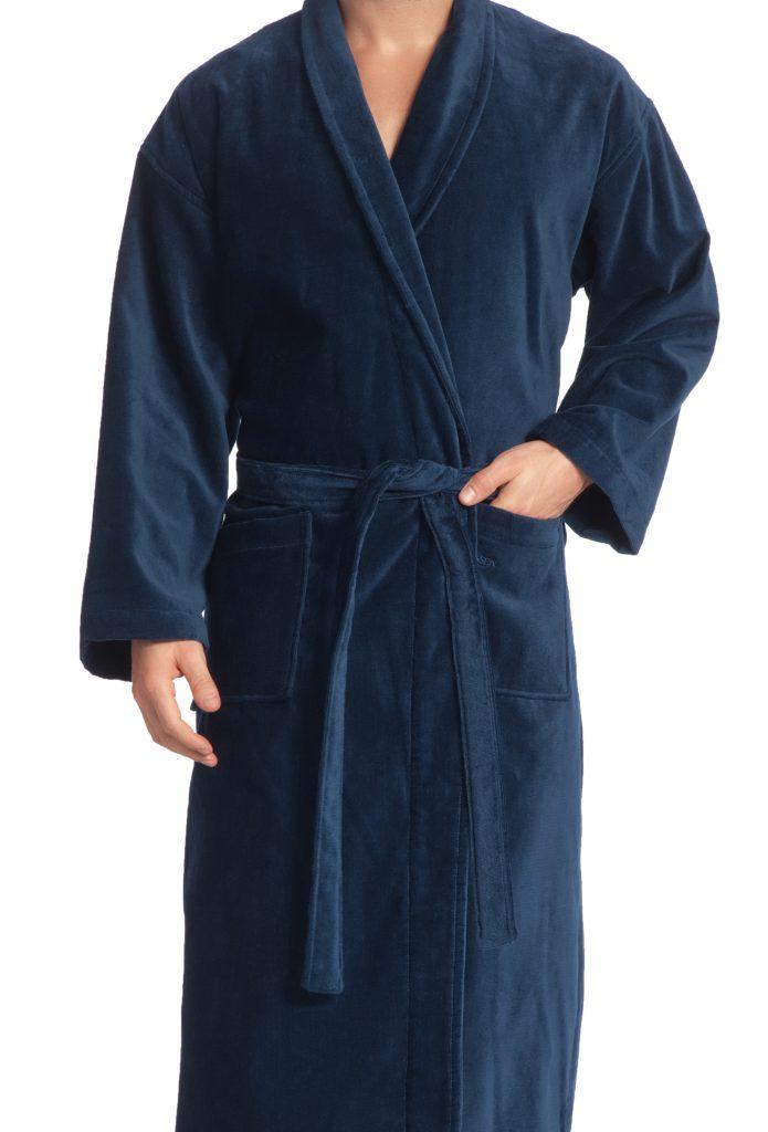 Luxe donkerblauwe badjas met sjaalkraag van luxe veloursbadstof van Vossen-1485