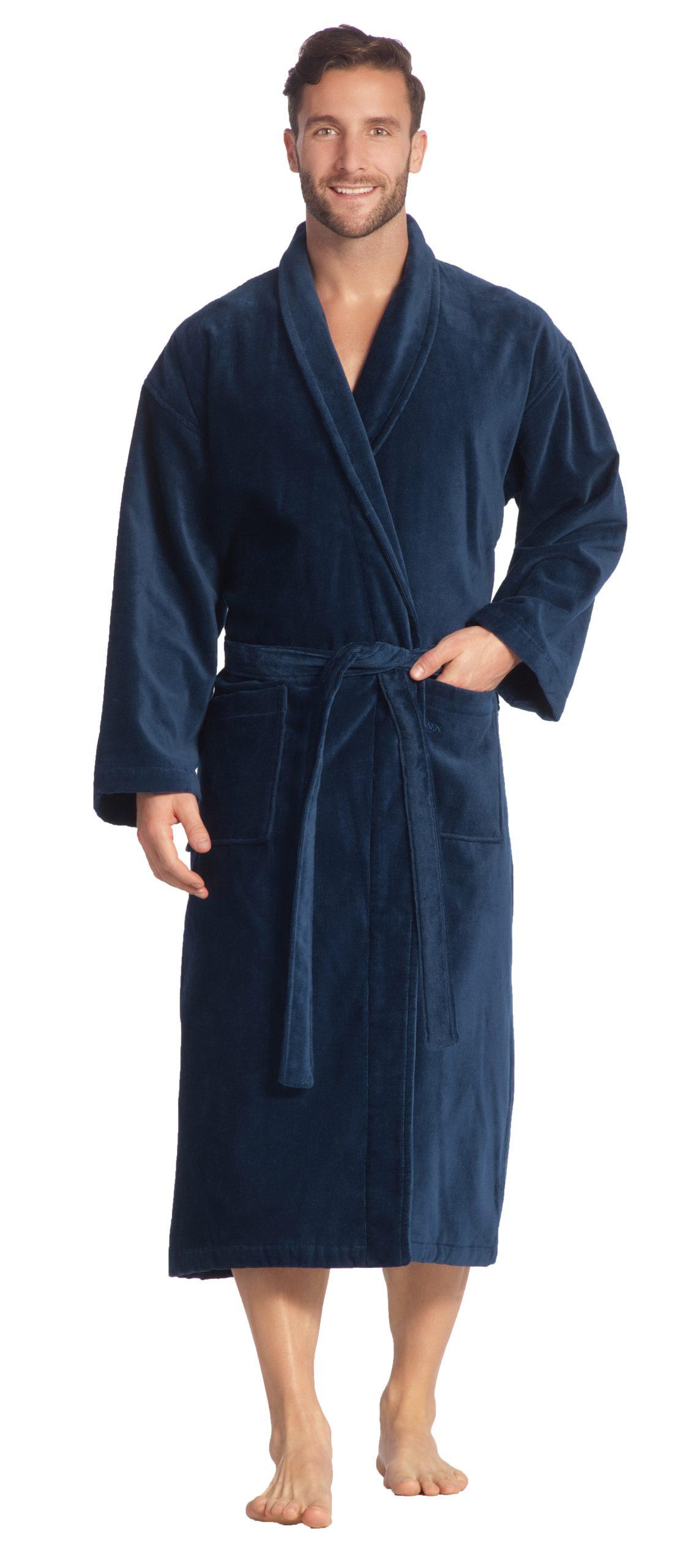 Luxe donkerblauwe badjas met sjaalkraag van luxe veloursbadstof van Vossen-0