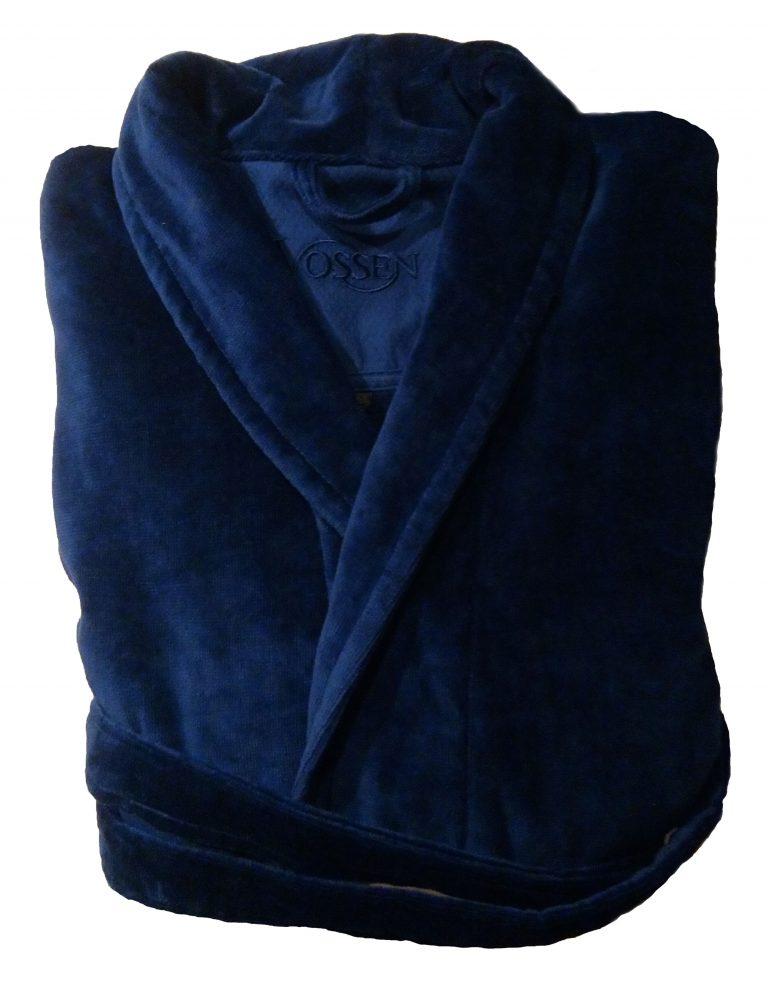 Luxe donkerblauwe badjas met sjaalkraag van luxe veloursbadstof van Vossen-1766