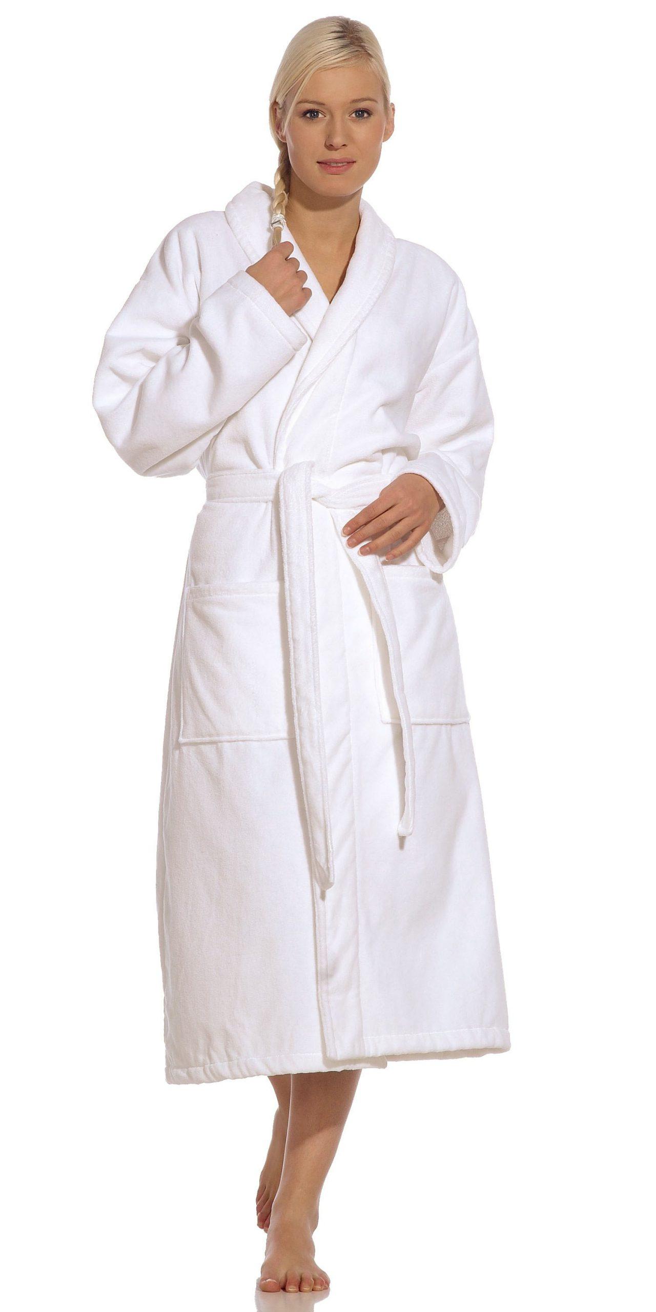 Witte badjas met sjaalkraag van Vossen-0