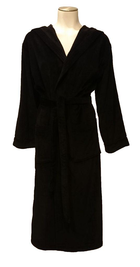 Zwarte uniseks badjas met capuchon van de badjassenwinkel-1669