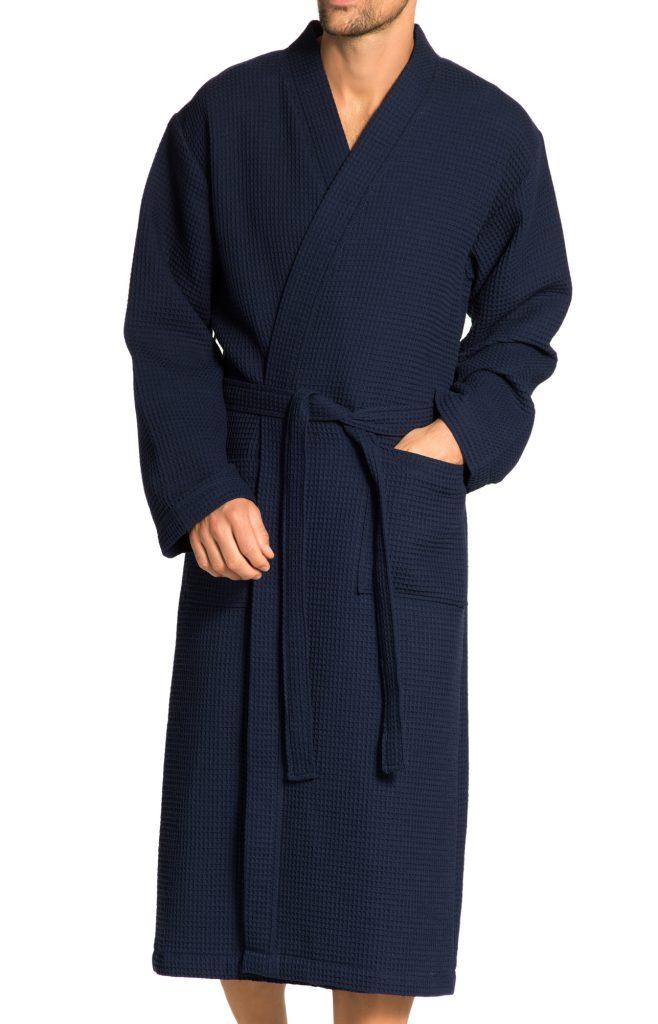 Donkerblauwe badjas van wafelkatoen van Vossen-1771