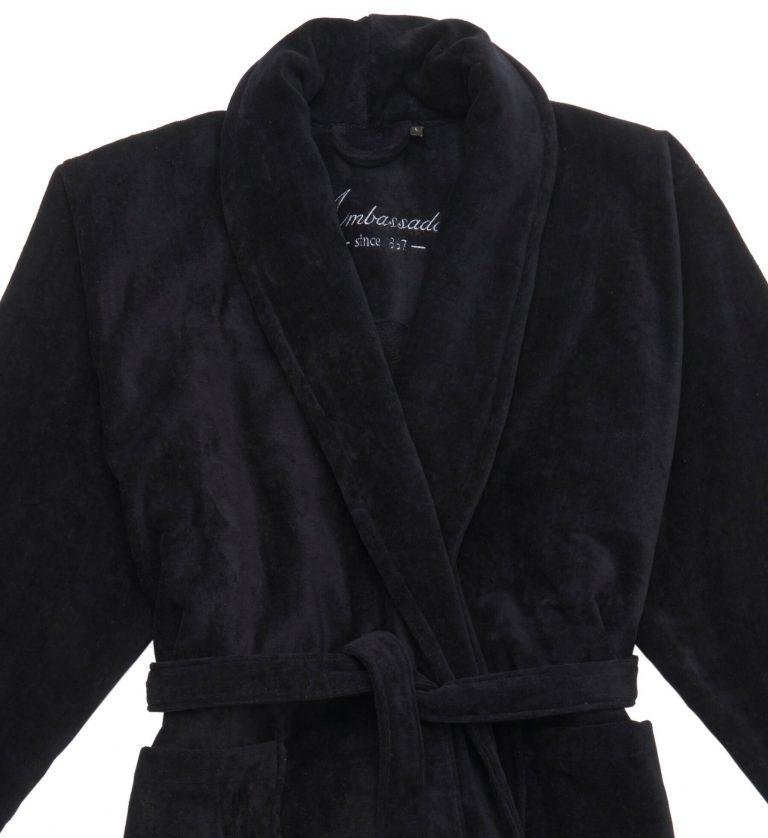 Zwarte badjas van dikke veloursbadstof van Ambassador-1404