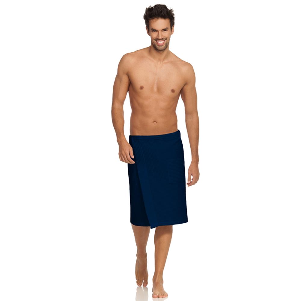 Donkerblauwe herenkilt van wafelkatoen voor de sauna van Vossen-0
