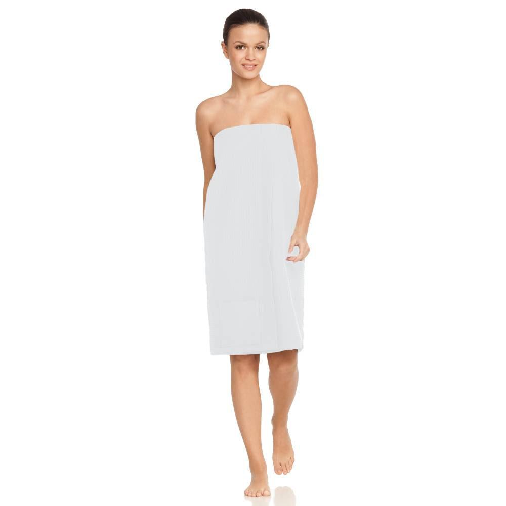 Witte dames-sauna-kilt of sarong van wafelkatoen van Vossen-0