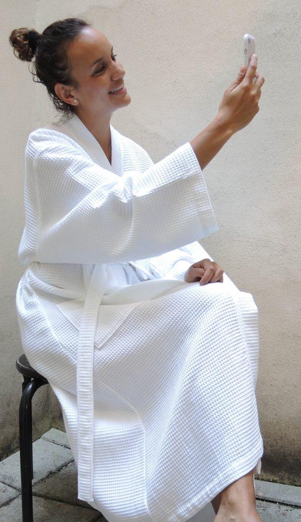 Dunne witte kimono van wafelkatoen van Vossen-1523