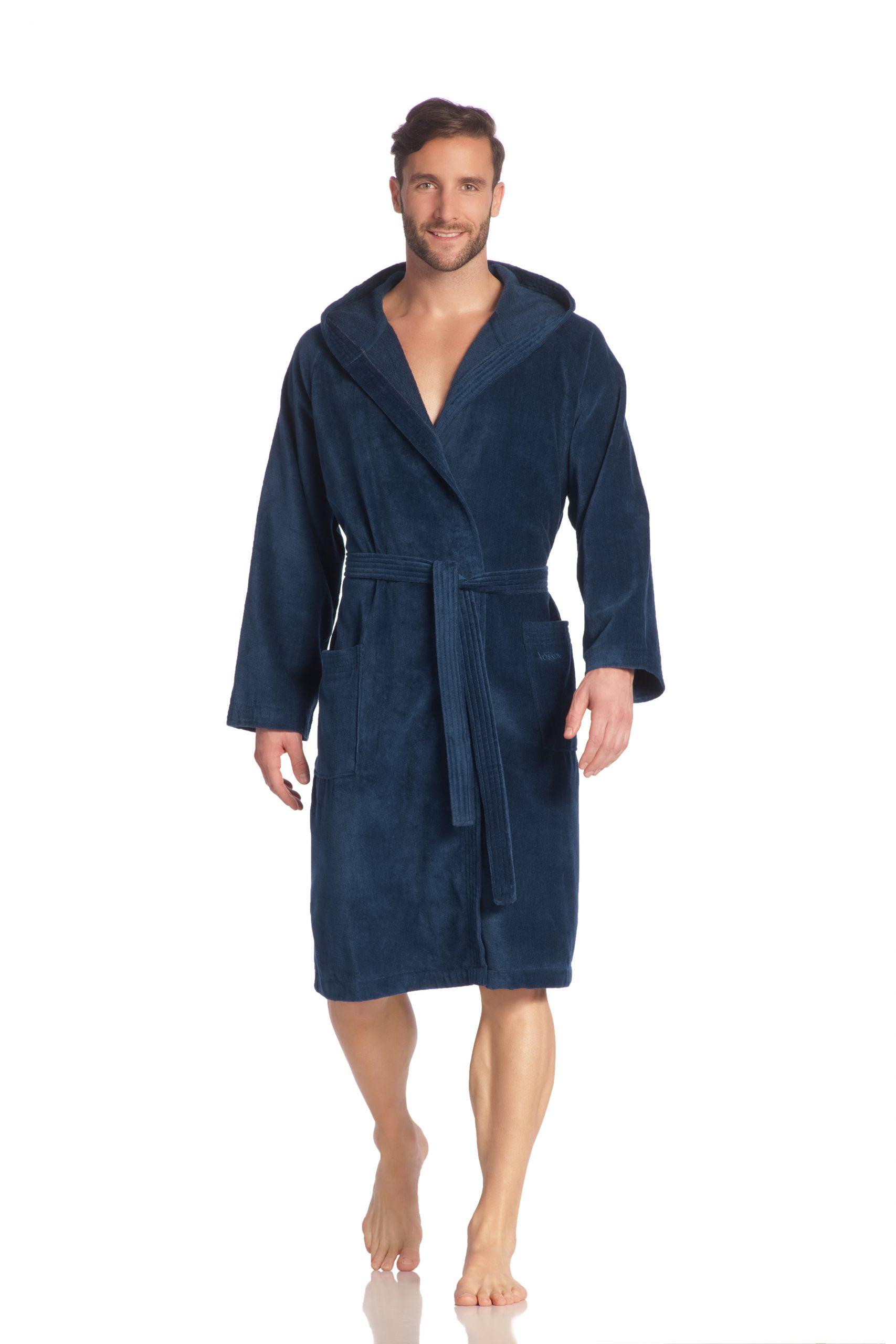 Donkerblauwe saunabadjas met capuchon van Vossen-0