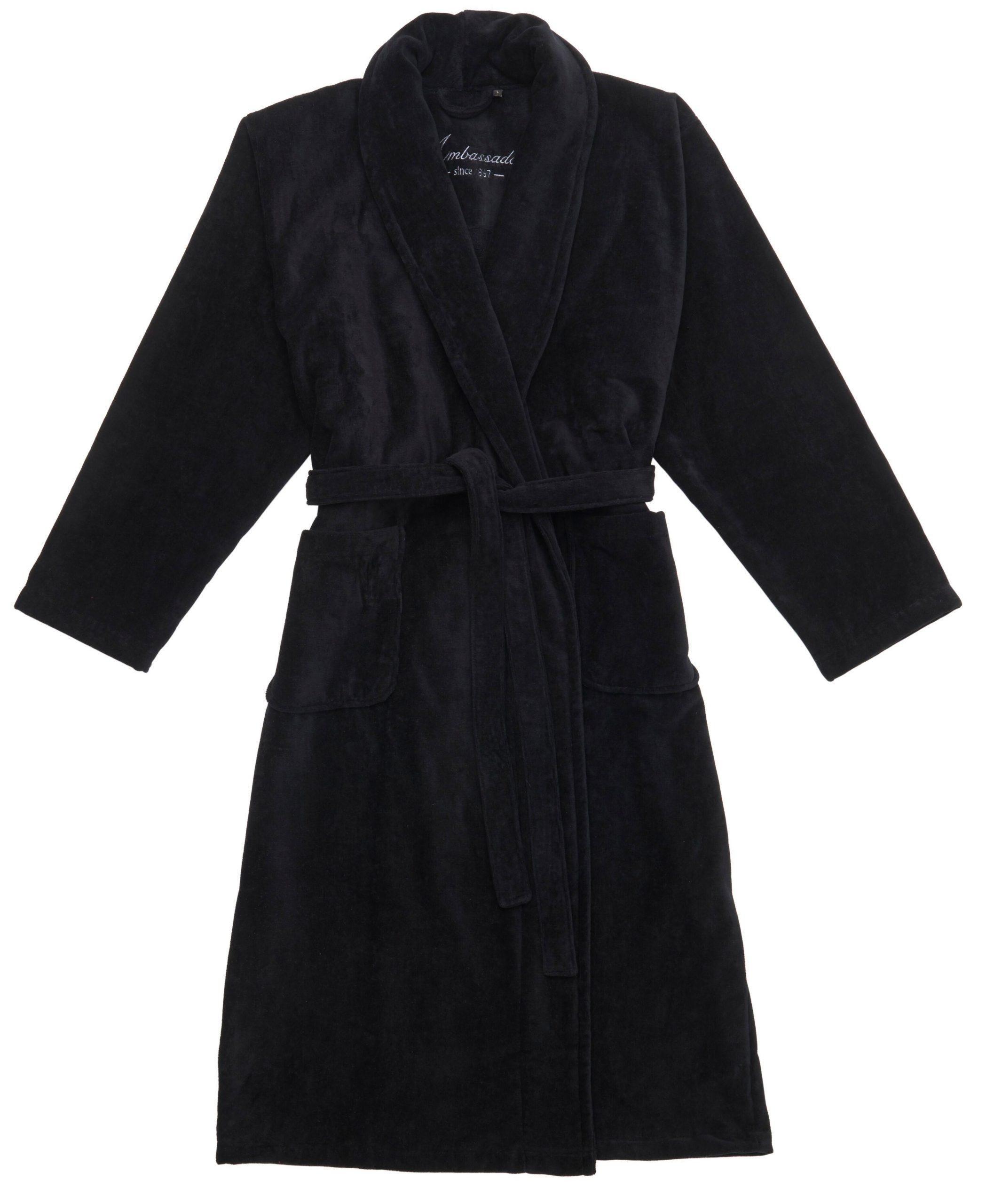 Zwarte badjas van dikke veloursbadstof van Ambassador-0